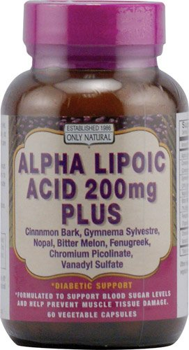 Only Natural Alpha Lipoic Acid -- 200 mg - 60 Vegetarian Capsules - 3PC by Only Natural