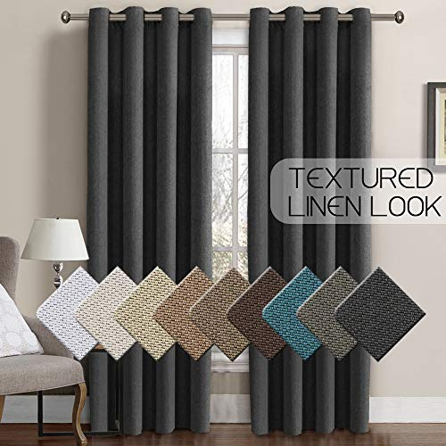 Linen Curtains Blackout 84 Inches Long Thermal Insulated Energy Saving Textured Linen Curtain Panels for Bedroom Grommet Window Treatment Curtain Drapes for Living Room - Charcoal Gray (1 Panel) (Curtains & Drapes)