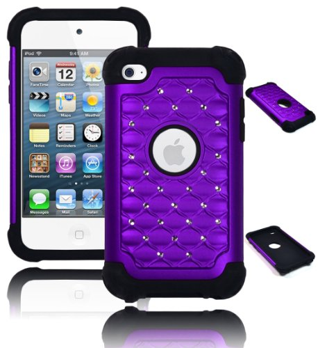 iPod Touch 4 Case, Bastex Heavy Duty Hybrid Soft Black Silicone Cover Purple Bling Diamond Crystal Case for Apple iPod Touch 4