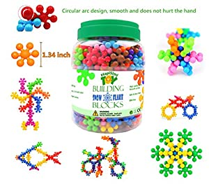 HapiSimi Snowflake Building Blocks Kids STEM Educational Toys - 250 Piece Mega Set of Plastic Interlocking Discs for Preschool, Toddler and School Boys and Girls - Creative & Development Toy