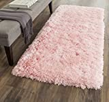 Safavieh Arctic Shag Collection SG270P Handmade Pink Polyester Area Rug (3′ x 5′) For Sale