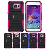 Galaxy S6 Case, HLCT Rugged Shock Proof Dual-Layer PC and Soft Silicone Case With Built-In Kickstand for Samsung Galaxy S6 (2015) (Rose Pink)