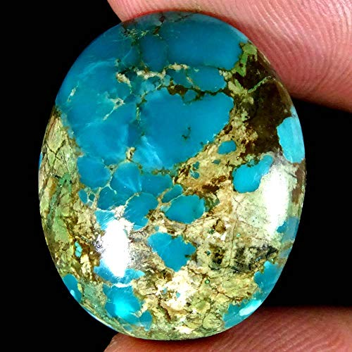 GEMSCREATIONS Natural Tibet Turquoise Oval Cab Untreated
