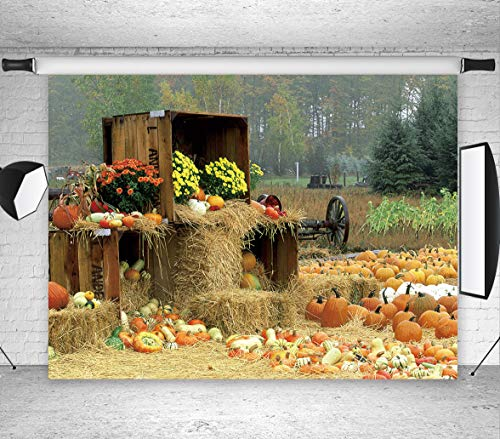 LB Fall Backdrops for Photography 7x5ft Vinyl Rustic Harvest Farm Background Thanksgiving Backdrop for Party Event Portrait Photo Booth Backdrop -