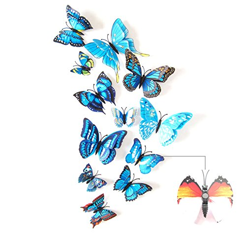 (2017 The Latest Upgrade 3D Double-Deck Butterfly Wall Stickers Decor Art Decorations With Magnet、Sponge Gum And Pin 12 Pack (Blue-Magnetic Button&Sponge Gum))