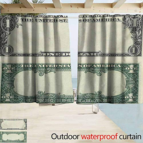 (AndyTours Exterior/Outside Curtains,Money One Dollar Bill Buck Design American Federal Reserve Note Pattern Wealth Symbol,Rod Pocket Energy Efficient Thermal Insulated,W72x72L Inches,Pale Green Grey)