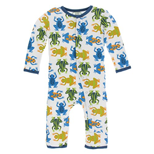 - Kickee Pants Little Boys Print Coverall with Snaps - Amazon Frogs, 0-3 Months