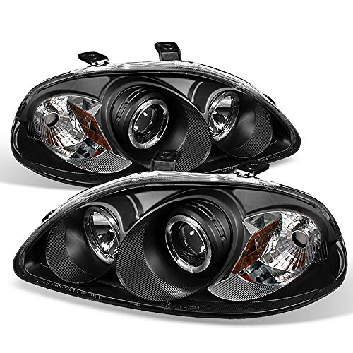 ACANII - For 1996-1998 Honda Civic LED Halo Ring Black Housing Projector Headlights Headlamps, Driver & Passenge Side Civic Projector Headlights Black Housing