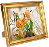 Displays2go Ornate Gold Protective Glass Lens Photo Frame, Set of 6