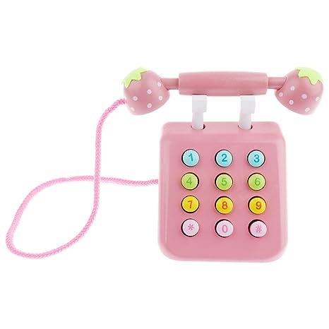 Baoblaze Juguete de Teléfono de Madera Juegos de Rol Juguete Educativos para Niños - Rosado