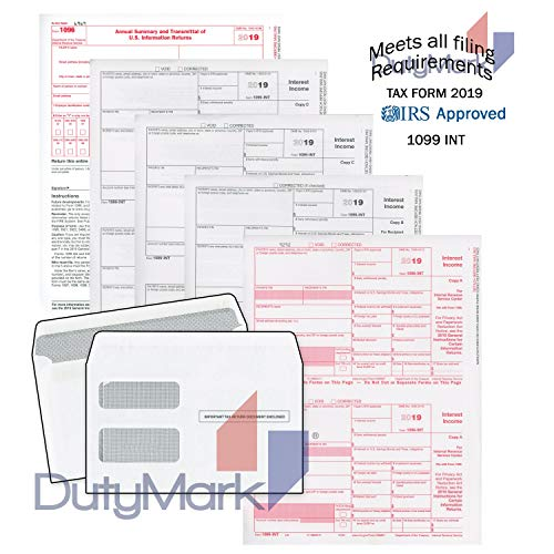 1099-INT Income Set 2019, 4-Part Tax Forms, with Self-Seal envelopes Kit for 25 Vendors - Laser Forms Designed for QuickBooks and Accounting Software, Set for Interest Income 2019