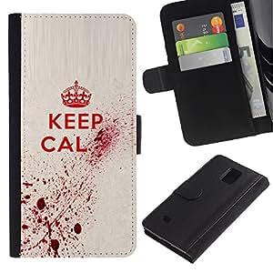 KLONGSHOP / Tirón de la caja Cartera de cuero con ranuras para tarjetas - Keep Blood Art Royal Quote Red King Queen - Samsung Galaxy Note 4 SM-N910