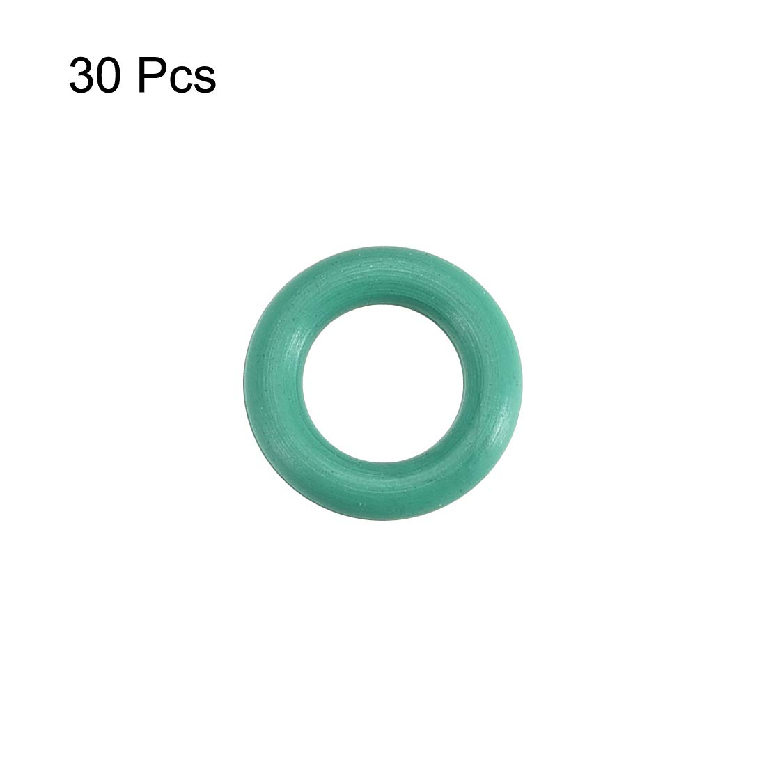 Pack of 30 Green 7mm OD 4mm ID 1.5mm Width FKM Seal Gasket for Vehicle Machinery Plumbing sourcingmap Fluorine Rubber O-Rings
