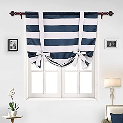 "Deconovo Striped Tie Up Blackout Curtains Rod Pocket Room Darkening Curtains for Living Room - Made by 100% polyester. Durable and quality. The rod pocket curtains can be washed in machine and dried. Package includes 1 panel with 46"" wide x 63"" length (117cm x 160cm) - living-room-soft-furnishings, living-room, draperies-curtains-shades - 51tcSjAqMyL. SS400  -"