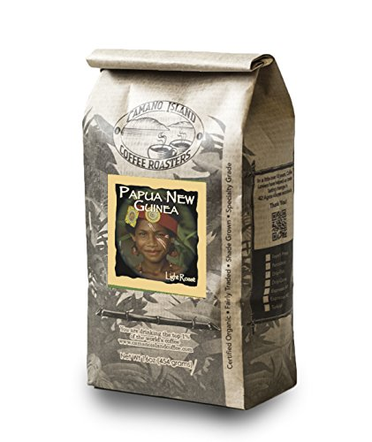 Camano Island Coffee Roasters, Organic Papua New Guniea Light Roast, Whole Bean, 1 Lb