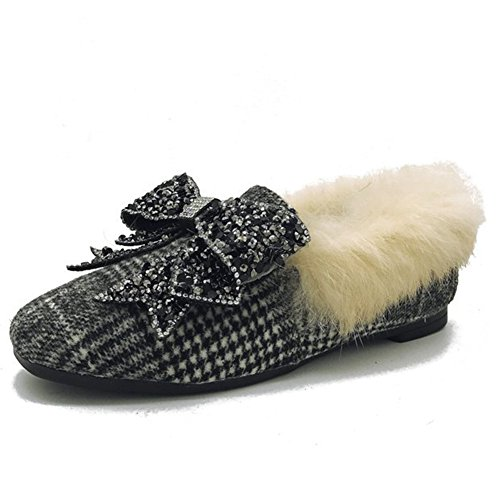 Btrada Womens Winter Warm Moccasins Slipper Fluffy Fur Lining CZ Bowknot Driving Moccasins Shoess Shoes Grey WIq0h7FH