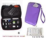 Diabetic Organizer Cooler Bag-for Insulin, Testing Supplies -Purple (2 x Ice Pack)