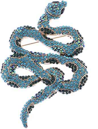 fdcd9fed7 Alilang Womens Silver Tone Ombre Topaz Colored Rhinestone Slithering Jungle  Snake Animal Brooch Pin