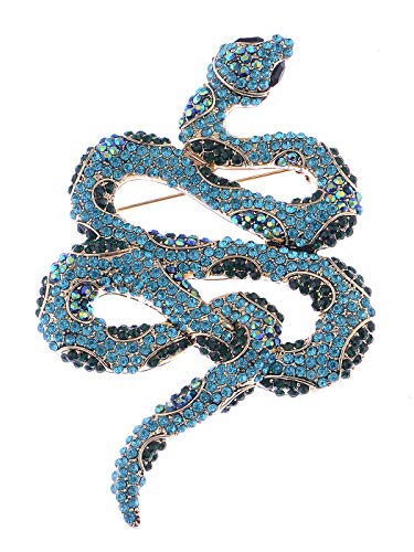 (Alilang Womens Silver Tone Ombre Topaz Colored Rhinestone Slithering Jungle Snake Animal Brooch Pin)