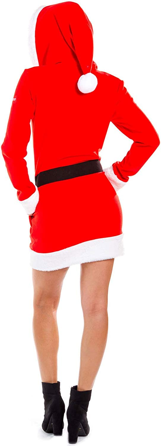 Red Zip Up Santa Dress with Hood Female Claus Christmas Sweater Dress Womens Mrs