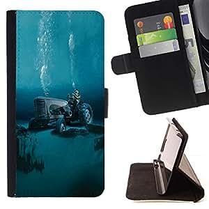 For Sony Xperia M2 Case , Tractor Calentamiento Global Buceo- la tarjeta de Crédito Slots PU Funda de cuero Monedero caso cubierta de piel