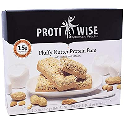 ProtiWise - 15g High Protein Weight Loss Bars for Any Diet (Fluffy Nutter) | Low Calorie, Low Fat, Low Sugar (7/Box)
