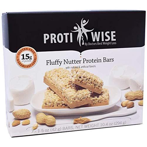 ProtiWise - Fluffy Nutter Bars | Gluten Free Diet Nutrition Snack Bar | High Protein, Low Sugar, High Fiber, Cholesterol Free (7/Box)