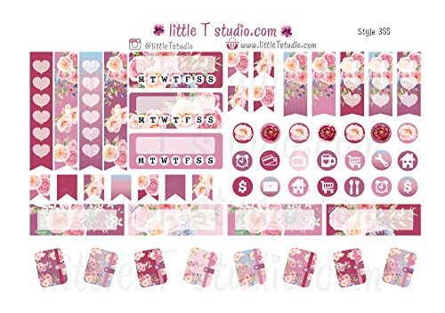 Icon Tabs - Lovely Paris - Floral Tab, Icon, Tracker, Entry Box Stickers - Style 355