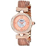 Burgi Women's BUR110RG Crystal Accented Rose Gold Swiss Quartz Watch with White and Rose Mother of Pearl Dial and Rose Gold Bracelet