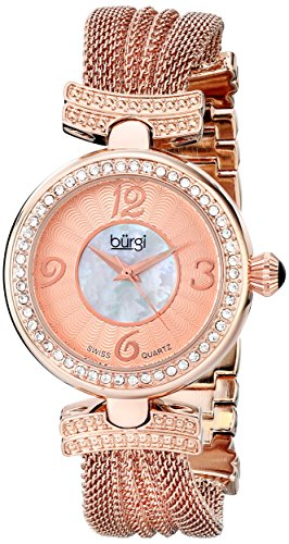 Mop Dial Rose (Burgi Women's BUR110RG Crystal Accented Rose Gold Swiss Quartz Watch with White and Rose Mother of Pearl Dial and Rose Gold)