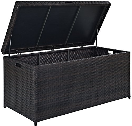 (Crosley Furniture Palm Harbor Outdoor Wicker Storage Bin - Brown)