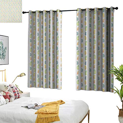 Warm Family Eclipse Curtains Floral,Hand Drawn Watercolor Foliage Leaves with Many Colors Botany Themed Illustration, Multicolor 72