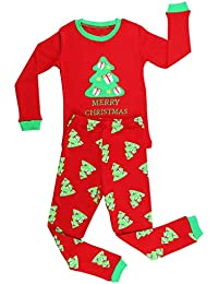 Elowel Boys Girls Christmas Tree 2 pc Kids pajamas Set Cotton (Size 6M12Y)