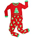 Elowel Girls Red And Green Christmas Tree 2 pc pajamas Set 12-18 Months