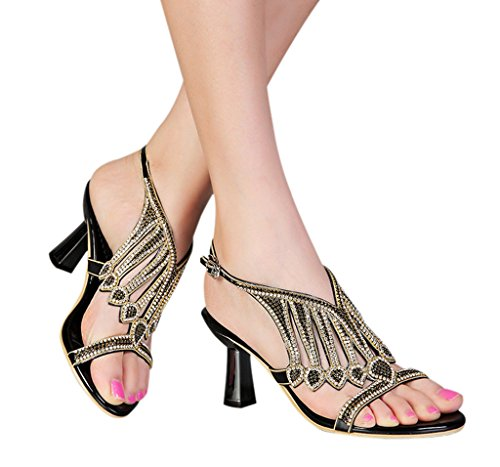 Donne Spillo Cristallo Nera Tacchi Partito Alti Ritagli 03 Del Caviglia A Sandali Vestito Slingback Scintilla Delle Cinturino Pu Di TXgZWx0nqw