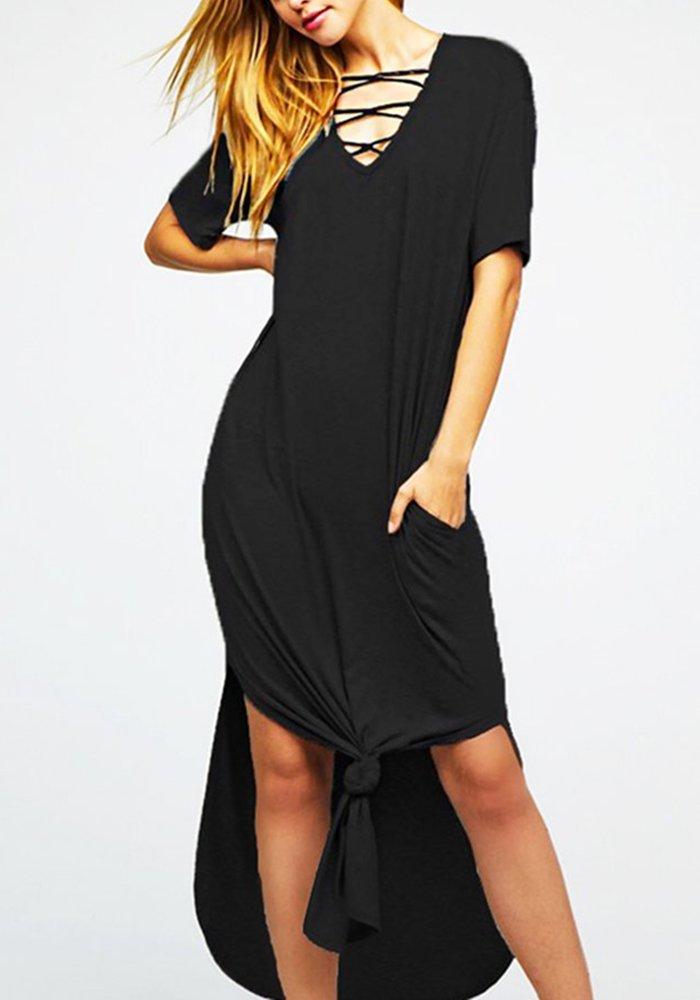 Womens Criss Cross Beach Dresses Casual Summer V Neck Short Sleeve Split Maxi Dress with Pockets