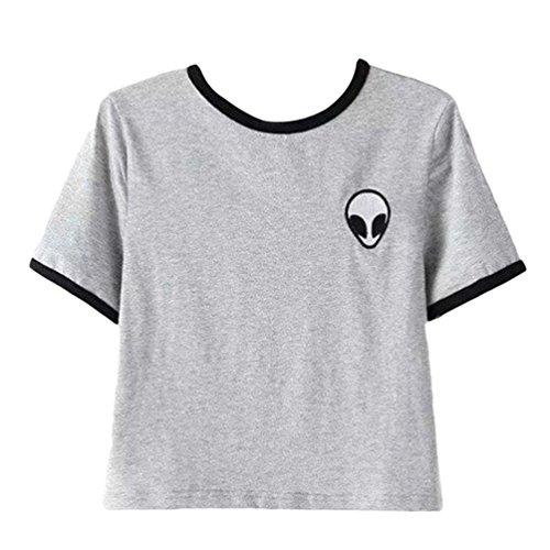 3D Kairuunn Collo Corta Stampa Rotondo Crop T Magliette Shirt Camicie Top Aliens Grigio Donna Manica ttZwqWgBS