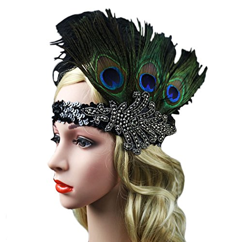 Fascigirl Peacock Feather Fascinator Headband Sequin Party Headwear for Women