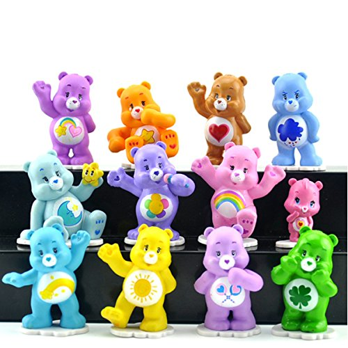 Jiahui Brand 12 Piece Bears Toys Figurines Playset, Bears Action Figure Collection Playset, Cupcake Topper with Baby Wonderheart Bear, Harmony Bear, Good Luck Bear, Wish Bear, Share Bear, 1,6