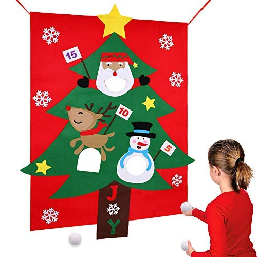 (PartyTalk Felt Christmas Tree Snowball Toss Game for Kids, Christmas Games for Adults and Kids Party Decorations, Christmas Kids Gifts with 3)