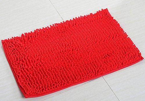 YJ Bear Chenille Rectangle Anti-slip Microfiber Doormat Solid Color Non-Slip Area Rug Carpet Shaggy Floor mat Soft Bath Mat for Home Bedroom Bright Red 20