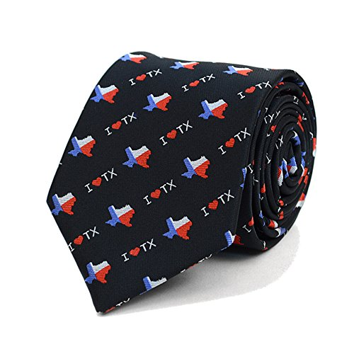 Men's I Love Texas State Flag Necktie Tie Neckwear (Black) (Texas Neckties)
