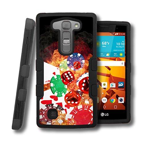 LG Volt 2 Magna Case, CASECREATOR[TM] For LG Volt 2 LS751 / Magna H502G (Boost Mobile) -- TUFF Hybrid Rubber Hard Snap-on Case Black-Cards Dice Chips