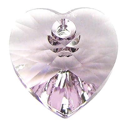 4 pcs Swarovski Crystal 6228 Xilion Heart Charm Pendant Light Amethyst 10mm / Findings / Crystallized Element