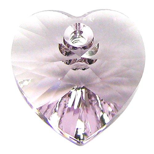 Dreambell 4 pcs Swarovski Crystal 6228 Xilion Heart Charm Pendant Light Amethyst 10mm / Findings/Crystallized ()