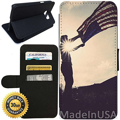 Flip Wallet Case for Galaxy S7 (Love USA) with Adjustable Stand and 3 Card Holders | Shock Protection | Lightweight | Includes Stylus Pen by - Burberry Stores Usa