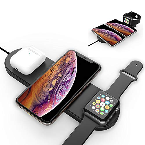 Nuoshawan 3 in 1 Qi Wireless Charging Pad Fast Charger Compatible with iPhone 11 11pro 11pro Max X XS XR Xs Max 8 8 Plus,Samsung S8 S7and iWatch Apple Watch Series 5 4 3 2 1 Airpods