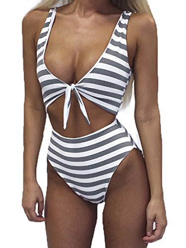 White Striped Bathing Suit - 3