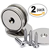 CMS Magnetics Neodymium Cup Magnets w/Matching Strikers and Screws Dia 1.57'' -112 LBS Pulling Force 2 Packs of