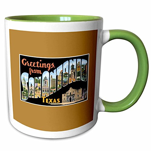 3dRose BLN Vintage US Cities and States Postcards - Greetings From San Antonio, Texas Scenic Postcard Reproduction - 11oz Two-Tone Green Mug - Antonio Texas Outlets San